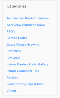 Categories bar in AeroGarden. It can be found under Resoures to the left of the screen. The categories contain a list of items such as recipes, company news, gardening tips, and much more.