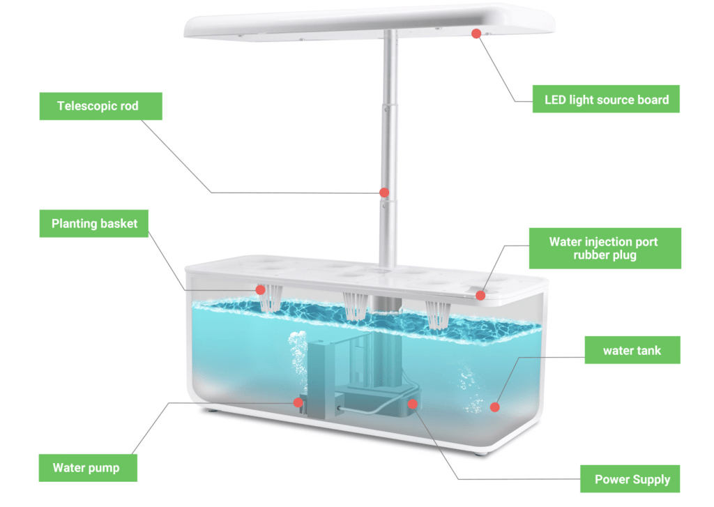 HomeJoy Hydroponicv System showing the water level and the other parts of the unit.