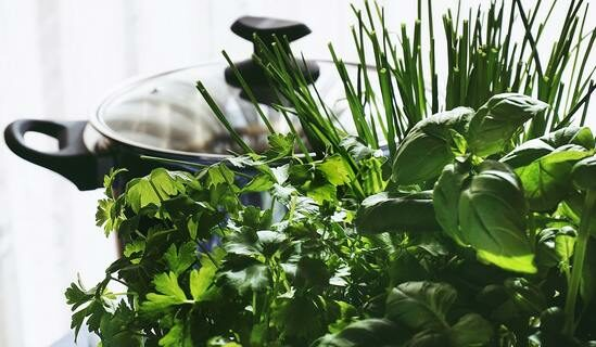 Herbs and cooking pot